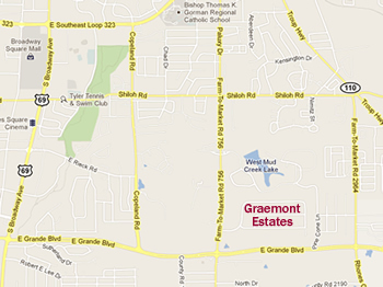 Map showing location of Graemont Estates in Tyler Texas